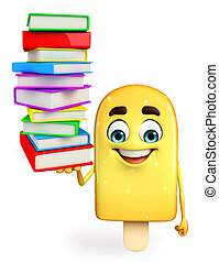Candy Character With Books pile - Cartoon Character of Candy...