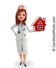 Nurse Character with home - Cartoon Character of Nurse with...