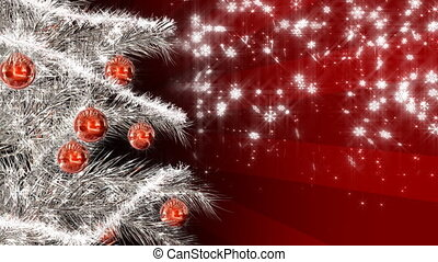 Christmas tree - Silver christmas tree on red snowing...