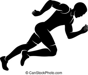 Male Runner Silhouette - Illustration of a male sprinter in...