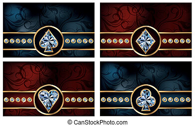 Set brilliant poker cards, vector illustration