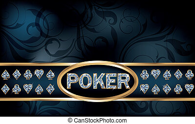 Diamond poker greeting card, vector illustration