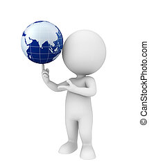 White character with globe - Illustration of white character...