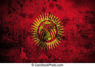 grunge flag of Kyrgyzstan with capital in Bishkek