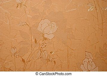 retro floral wallpaper in golden design - retro crumpled...