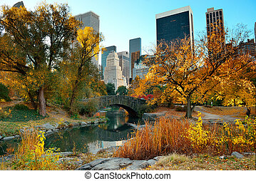 Central Park Autumn and buildings in midtown Manhattan New...