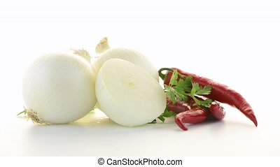 Onion, chilli peppers and parsley - Still life of onion,...