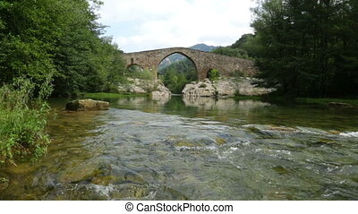Medieval stone bridge over Llobregat river in Pyrenees