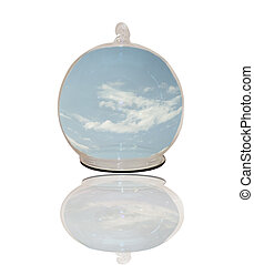 Blue sky under a glass sphere