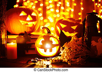 Halloween objects - Jack-o-lanterns and other Halloween...