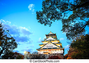 Osaka Castle in Osaka, Japan during a colorful pastel summer...