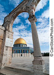 The Dome of the Rock, Jerusalem, Israel located on the...