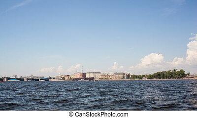 Timelapse of traveling on Neva river