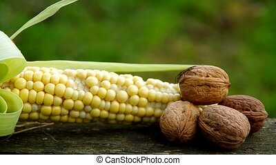 Corn and walnuts on wooden table - Corn and walnuts on a...