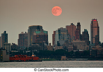 Moon - Super Moon and downtown buildings in Brooklyn