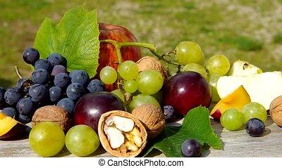 Diverse natural autumn fruits