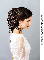 Beautiful bride with fashion wedding hairstyle - Beautiful...