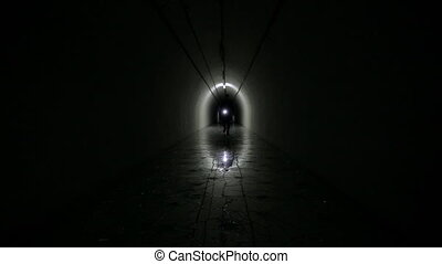 Man Silhouette in a bunker - Man Silhouette in a underground...