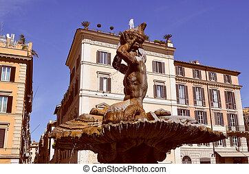tritón, fuente, roma