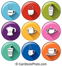 Round icons with coffee and tea - Illustration of the round...