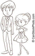 A simple sketch of a couple in formal attire