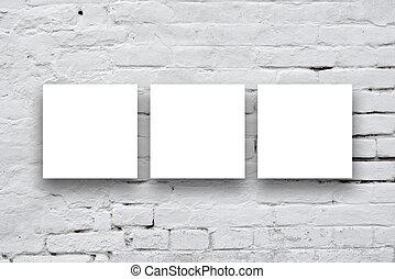 cuadrado, arte, pared, tres, ahorcadura, carteles, galería