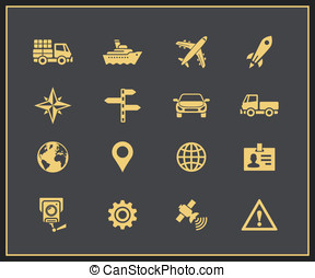 Transportation icons set - Transportation and logistic icons...