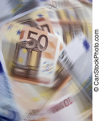 Currency spin - Spin effect added to twenty and fifty Euro...