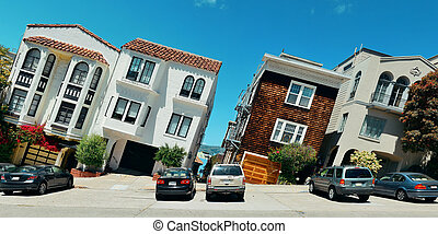 San Francisco street - street on hill in San Francisco...