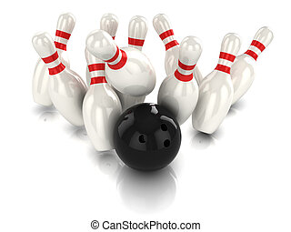 3d Ten pin bowling strike - 3d render of a bowling ball...