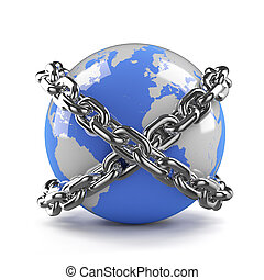 3d Globe is bound by chains - 3d render of a globe bound by...
