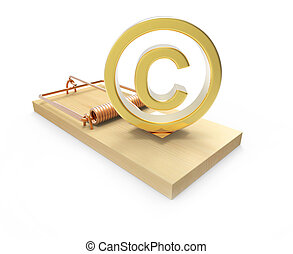 3d Copyright symbol in mousetrap - 3d render of a copyright...