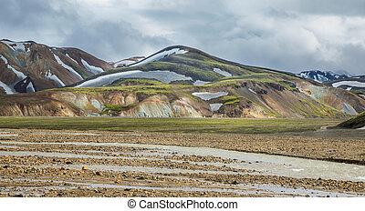 Landmannalaugar unbelievable colorful landscape and river,...
