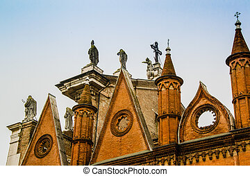 Statues on the top of the church