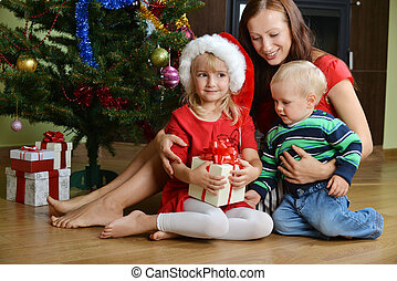 children with mother - happy children with mother near...