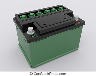 green car battery on white background