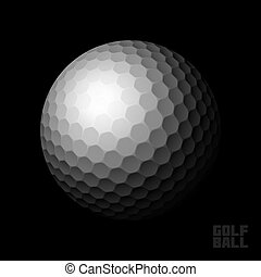 Golf ball on black background