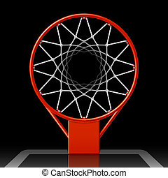 Basketball hoop on black