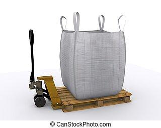pallet jack with big bag - loaded pallet jack