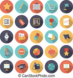 Flat design icons for business and finance. Vector eps10...