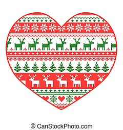 Christmas card - heart pattern - Xmas vector background -...