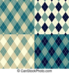 Seamless argyle pattern Diamond shapes background Vector set...