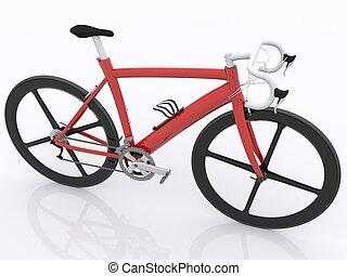 red bike with spoke wheels
