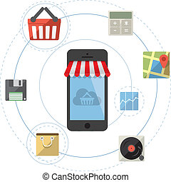 Smartphone as online store - Mobile shopping concept vector with