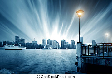 Shanghai Bund - Tempest in Shanghai Bund, Huangpu River...