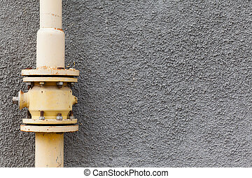 gas pipe wall - gray wall gas pipe rust points