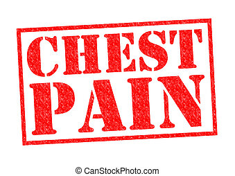 CHEST PAIN red Rubber stamp over a white background.