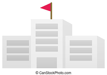 school building with red flag in a white background