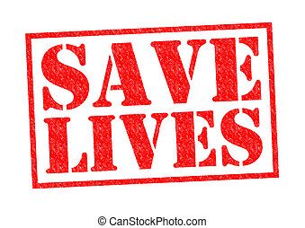 SAVE LIVES red Rubber Stamp over a white background