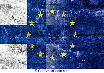Finland and European Union Flag painted on grunge wall